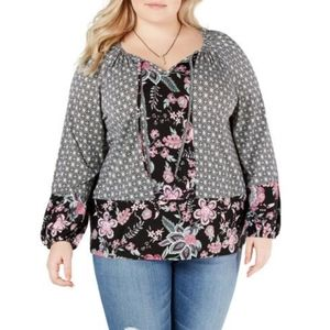 Style&Co Tee Top Long Sleeve Floral Tunic